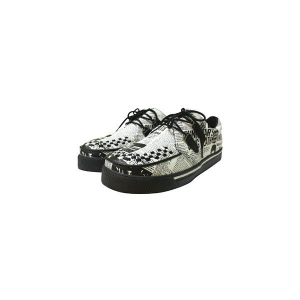 TUK CREEPERS PUNK NEWS in Footwear at Sourpuss Clothing ($42) ❤ liked on Polyvore featuring shoes, punk shoes, t u k shoes, punk rock shoes and creeper shoes