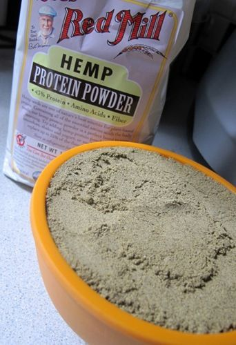 Homemade protein powder mix. I wasn't a fan of the hemp so I use whey protein powder and add unsweetened cocoa powder.