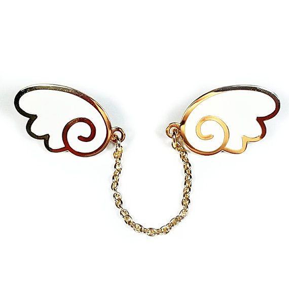 Angel Wings Enamel Pins With Chain White Gold Wing Lapel Pin Etsy In 2020 Gold Angel Wings Gold White Enamel
