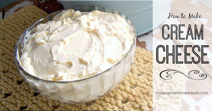 how to make homemade cream cheese http://www.theprairiehomestead.com/2012/10/how-to-make-cream-cheese.html-