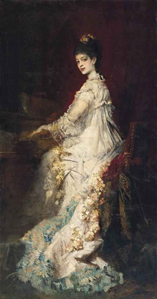 Portrait of Maria, Countess von Dönhoff (1882). Hans Makart (Austrian, 1840-1884). Oil on canvas. Makart's life-size portrait of his close friend Maria, the Italian aristocrat Countess von Dönhoff, a gifted pianist and singer, is a bravura portrait...