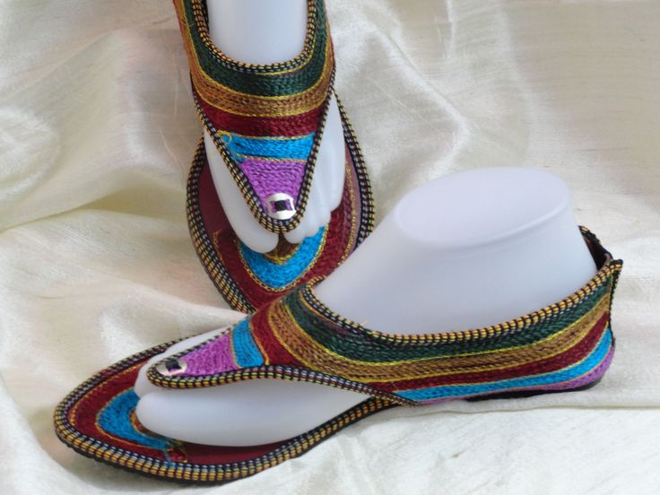 Ethnic, boho women's sandals shoes. Indian Flat shoes or sandals. Hand embroidered women's shoes. Punjabi shoe or sandals. . From Artikrti. http://bit.ly/1f0CXku