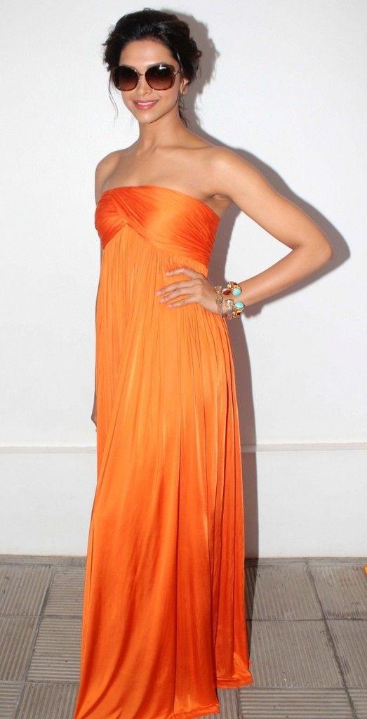 Deepika-Padukone-In-Orange-Gown Jumpsuit