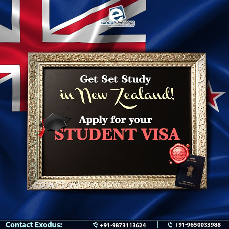 Make your way to New Zealand to study in any of the many prestigious universities there. Get in touch with the Student Visa experts at Exodus Overseas and get packing! Contact Mr. Pankaj Malhotra (Ex-Visa Officer) Ph: +91-9650033988. For any visa other than student contact Ms. Rajni Garg (Licensed immigration advisor) at +91-9873113624.  #NewZealand #StudentVisa