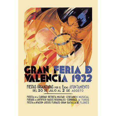 """Buyenlarge Gran Feria de Valencia 1932 by Luis Dubon Vintage Advertisement Size: 42"""" H x 28"""" W x 1.5"""" D"""