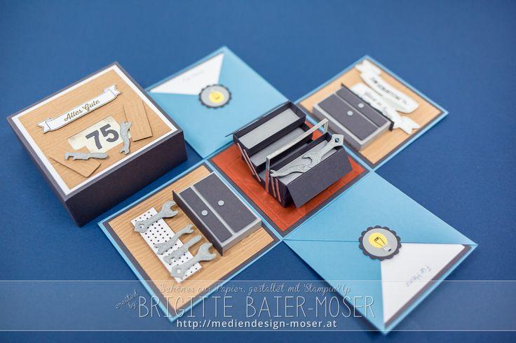 Explosionsbox für einen Handwerker | hergestellt von Brigitte Baier-Moser mit Stampin'Up!