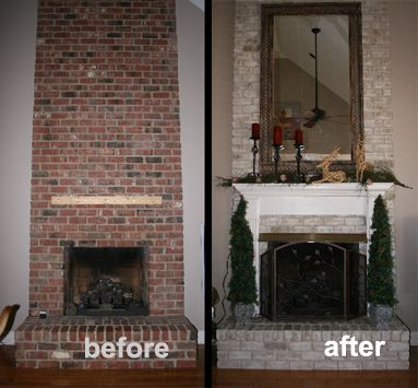 Faux Painted Brick Fireplace | very very difficult to get the paint off the brick. been there, done ...