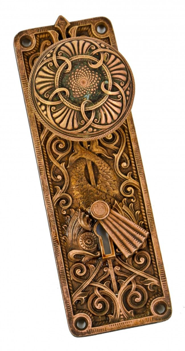 very rare and visually striking antique american columbus memorial building interior ornamental cast bronze passage door hardware with intact swinging keyhole cover