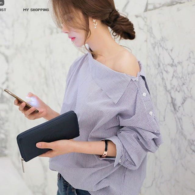 送料込 ¥2,120 変形シャツ ストライプ 韓国ファッション 春コーデ | Rayca!