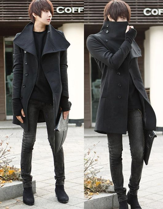 Details about Men's Stylish Button Up Lapel Long Winter Handsome Coat Jacket Black Grey 4 Size