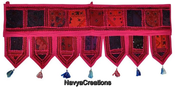 Vintage Indian Embroidered Cotton Door Hanging Topper Window Valance Toran Decor . A fancy door toran that attracts & welcomes! This beautiful handmade toran is one of the finest Indian wall hangings that you can now online order at very reasonable price. Color combination is just perfect to attract any eye plus at the end of each decorative line it holds beautiful small tassels that make this toran overall amazing.