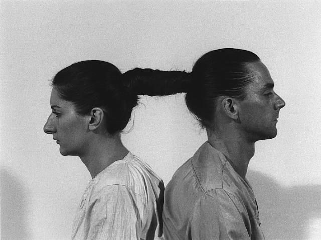 Marina Abramovic' and Ulay, Relation in Time. Originally performed at 1977 for 17 hours at Studio G7, Bologna. Still from 16 mm film transferred to video (black and white, sound), 50:33 min. (c) 2010 Marina Abramovic.