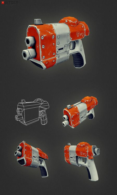 Low Poly Fantasy Gun 02 Low poly fantasy hand gun with hand painted textures that is ready to be dropped into any game project. The model is optimized for mobile game development on iOS (iPhone/iPad) or Android.