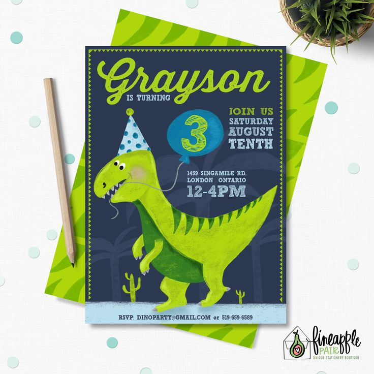 Dinosaur Invitation, Dinosaur Birthday Invite, Boy Birthday, Dinosaur Party, Dinosaur Balloons, Party Hat, lime green, navy, Dinosaur by FineapplePair on Etsy