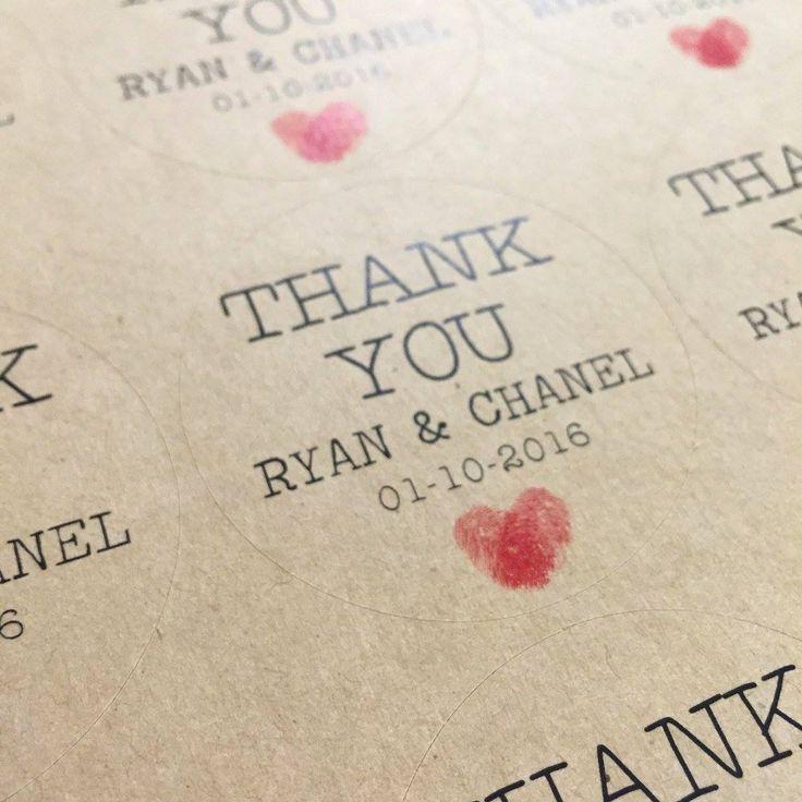 monogram wedding envelope seals sticker%0A Rustic Kraft Wedding Stickers Personalised Thank you Thumb Print