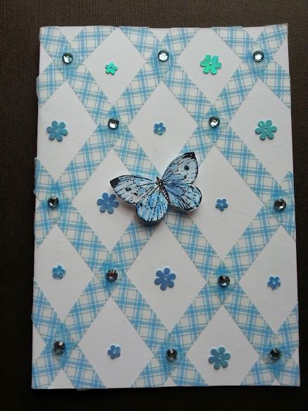 Using Whashi tape for a pretty blue card