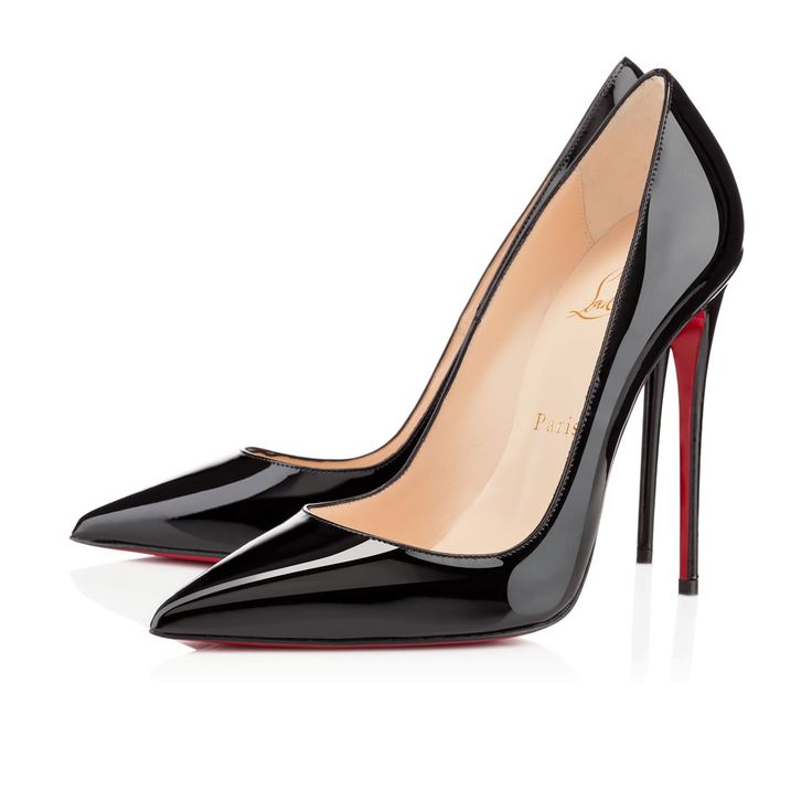 """Her superfine stiletto heel makes """"So Kate"""" one of the most delicate of all Louboutin pointed toe pumps. Her dramatic pitch provides you with a supremely sexy silhouette. This ultra-chic black patent leather version will become your favorite sky high pump this season."""