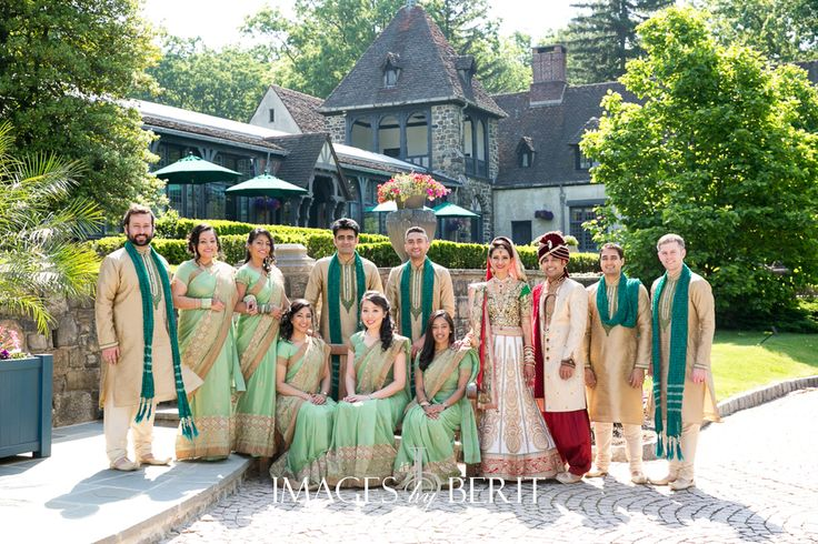 Indian Wedding at Pleasantdale Chateau | Photography by Berit Bizjak of Images by Berit | NJ Wedding Photography | Wedding party | Bridesmaids | Groomsmen | Event planning and design by @StudioSheen