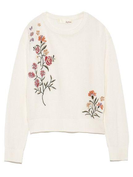 刺繍入りニットプルオーバー(ニット)|Lily Brown(リリーブラウン)|ファッション通販|ウサギオンライン公式通販サイト