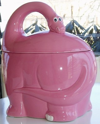 Pink Dino Dinosaur Cookie Jar  Notice the head is attached to make it stronger