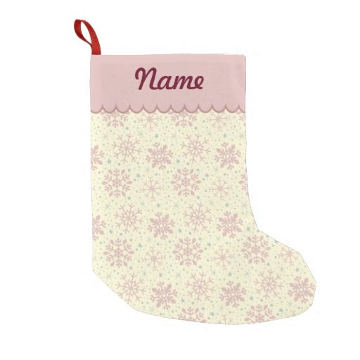 Personalized Pink Christmas Snowflake Pattern Stocking. Designed by Kristy Kate www.kristykate.com.