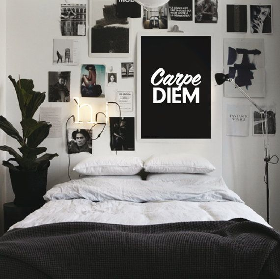 "Inspirational Quote Motivational Print Art Wall Decor ""Carpe Diem"" Balck and White Typography Poster Sign Subway Art"