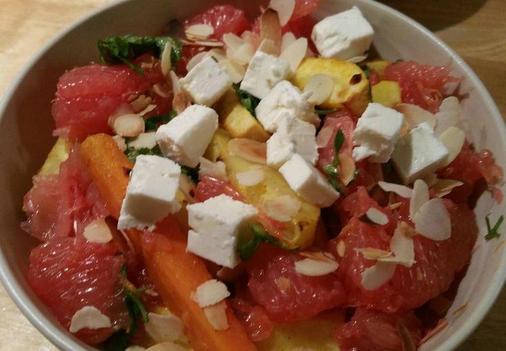 Geroosterde groenten met grapefruit en amandelen