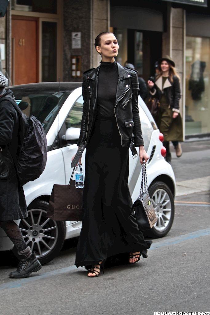 Karlie Kloss street style long skirt/leather jacket