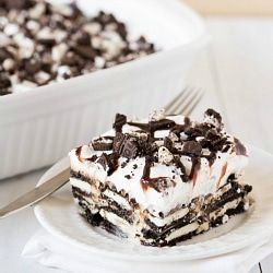 A recipe for Oreo Icebox Cake, a variation of my grandma's famous icebox cake with graham crackers.
