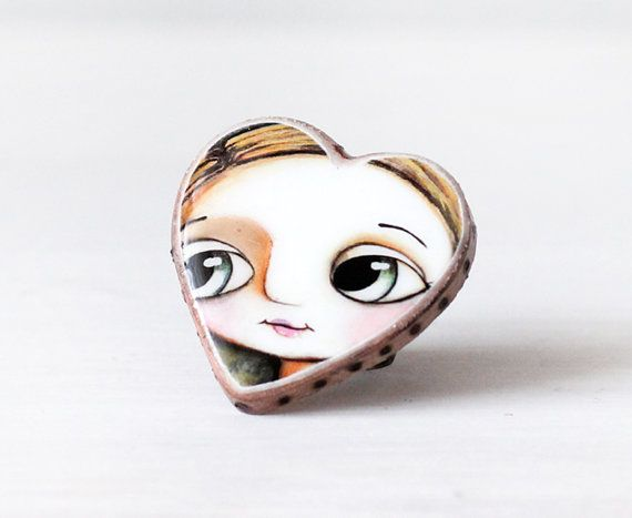 big heart ring recycled jenuine leather, big eyes  by Margherita Arrighi