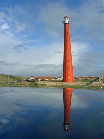 Lange Jaap lighthouse in Den Helder, The Netherlands, 1877, tallest cast iron lighthouse in Europe.  Striking photo.