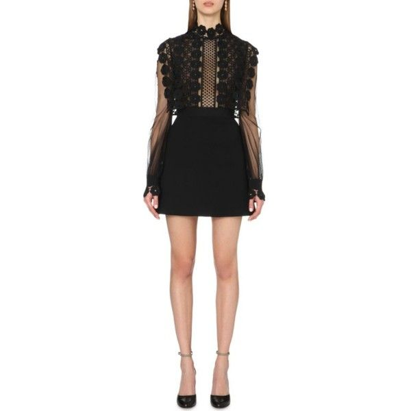 SELF-PORTRAIT Balloon-sleeved lace-embroidered dress (31.170 RUB) ❤ liked on Polyvore featuring dresses, black, black lace dress, lace dress, lace turtleneck, black turtleneck dress and sheer dress