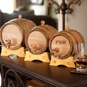 Personalized Mini Whiskey Barrels with Brass Bands for groomsmen gifts
