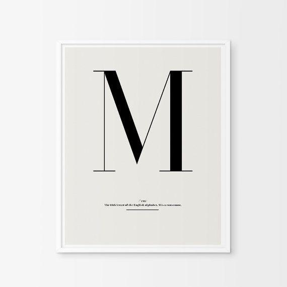 Letter M nursery print  letter m   custom baby von ChicScandinavian