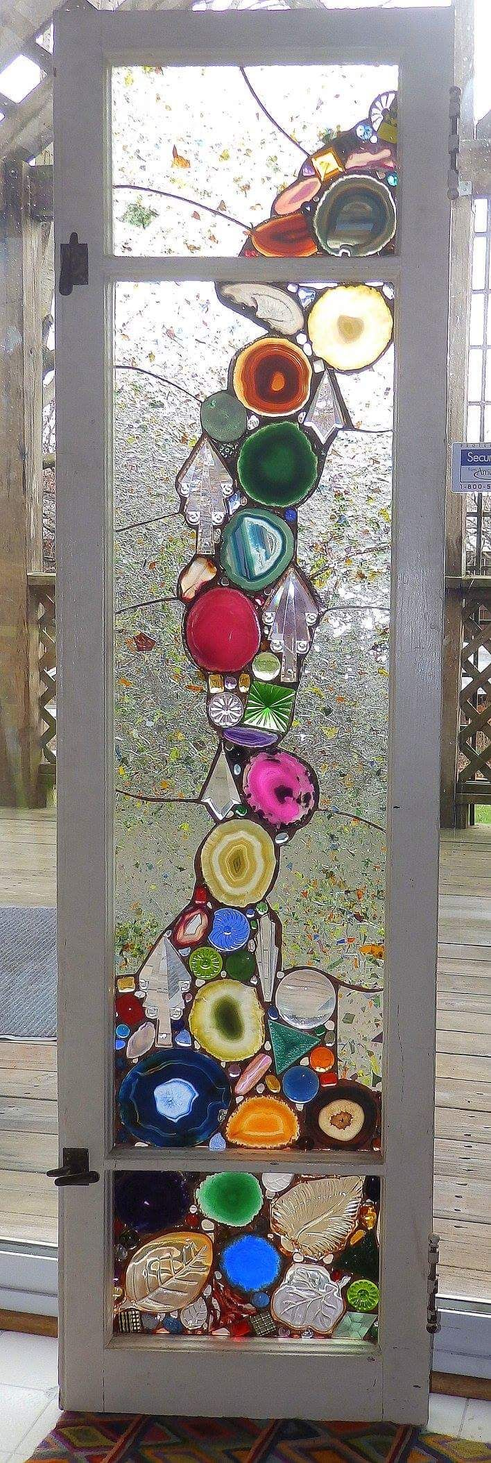 "Alison's Stained Glass - ""This is an advanced form of stained glass, where I use antique/vintage glass inclusions in each piece. All individually foiled and soldered with classic stained glass as the background. I also recycle old window sashes to use as my frames"" #StainedGlassBathroom"