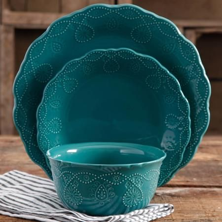 Love these new teal dishes from The Pioneer Woman. Cowgirl Lace 12-Piece Dinnerware Set - Walmart.com