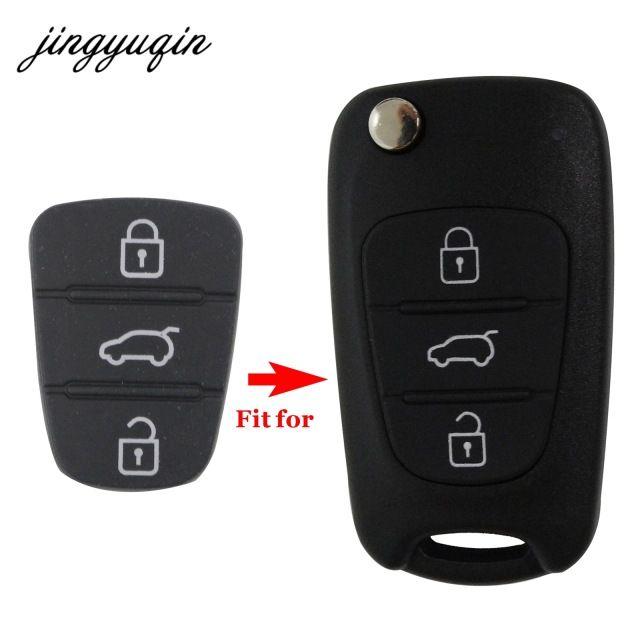 Jingyuqin 3 Button Remote Key Fob Case Rubber Pad For Hyundai I10