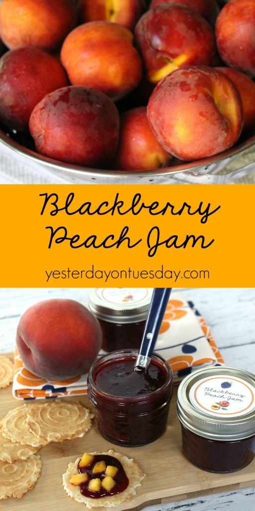 Blackberry Peach Jam Recipe: Enjoy the flavor of Ripe peaches and delicious blackberries all year long! Great on crackers, toast and vanilla ice cream.
