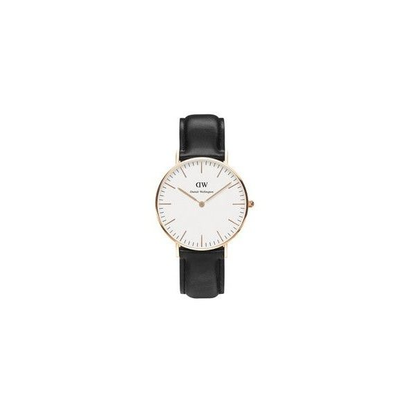 Daniel Wellington Men's Classic Sheffield Rose Watch - Black (315 AUD) ❤ liked on Polyvore featuring men's fashion, men's jewelry, men's watches, accessories, watches, mens leather strap watches, thin mens watches, mens leather watches and mens rose gold watches