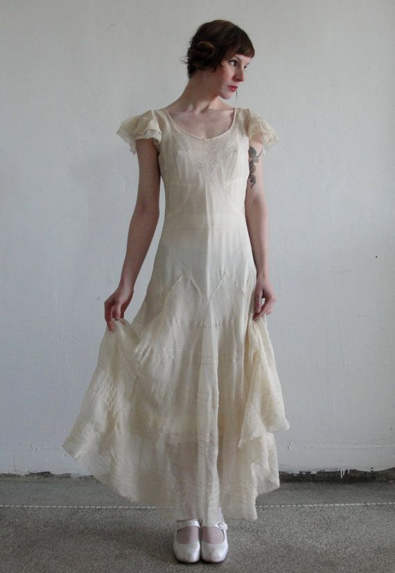 1920s Antique Silk Crepe FLAPPER WEDDING Gown by VeraVague on Etsy