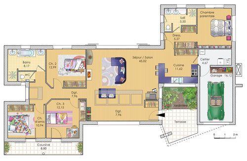 Découvrez les plans de cette une maison largement ouverte sur www.construiresamaison.com >>>