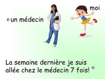 "This is an interactive PowerPoint where students practice their oral French by listening to pattern sentences and repeating them. Through this story of a girl who visits the doctor 7 times in one week, students practice the parts of the body, present tense, past tense and future tense using ""aller"".  Slides are illustrated and sometimes animated to help students understand the meaning of what they are hearing."