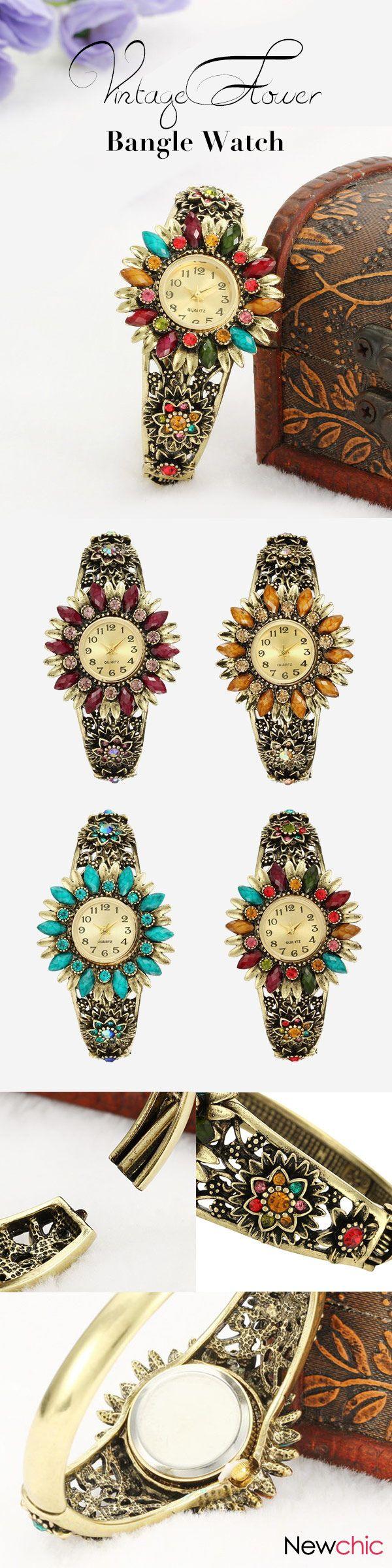 [Newchic Online Shopping] 45%OFF Women's Vintage Flower Bangle Watch