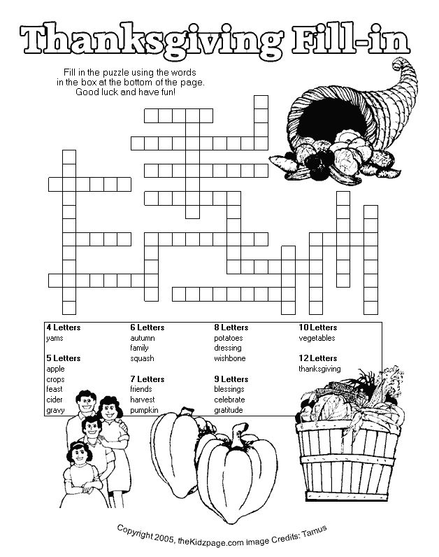 thanksgiving printables and activities | Thanksgiving Fill-in Puzzle - Free Printable Learning Activities for ...