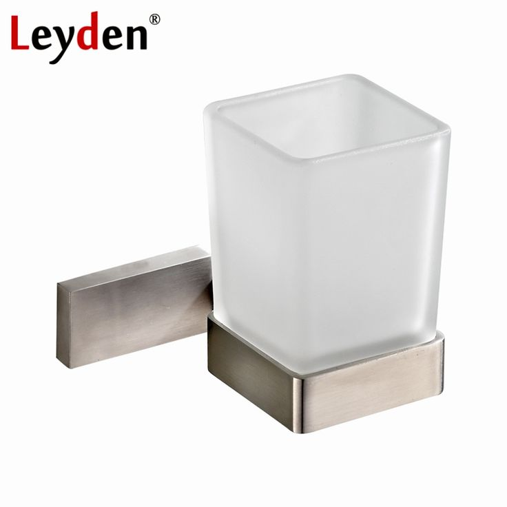 24.95$  Watch here - http://alicr6.shopchina.info/1/go.php?t=32820171576 - Leyden Square Toothbrush Tumbler Holder Modern Brushed Nickel Stainless Steel Cup Holder with Glass Cups Bathroom Accessories  #buyonlinewebsite