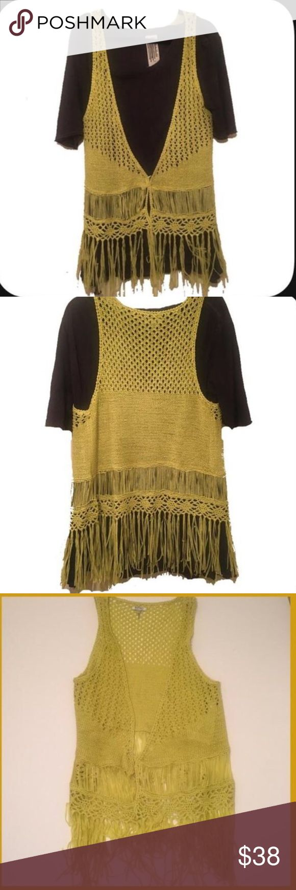 Crochet fringed vest• Bright yellow/ almost mustard but in a cool funky shade...V neck open vest•No closure tie• meant to wear open & layered as seen in pic• Shown on black Tshirt for effect• Buffalo David Bitton Tops