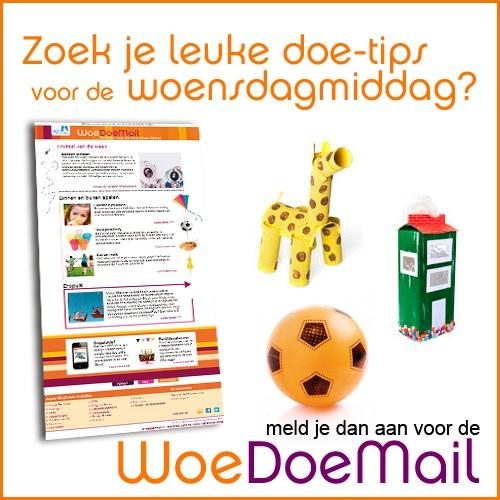Met de WoeDoeMail krijg je elke week de leukste doe-tips voor de woensdagmiddag: knutselideeën, uittips en spelletjes die je met je peuter of kleuter kunt doen.