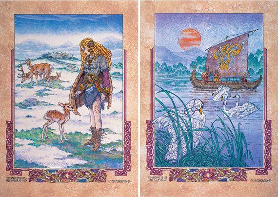 "Celtic Irish Fantasy Art 'Deer Goddess Lir Lakeside' Signed and numbered Limited Edition Print 23x16"". Irish Lanscape, Fairy, Swans, Deer."