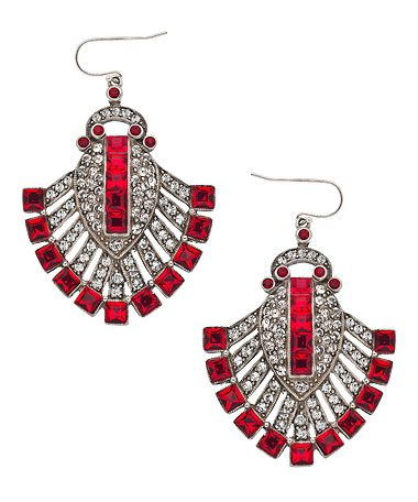 Ben-Amun Ruby Fan Earrings #maxandchloe