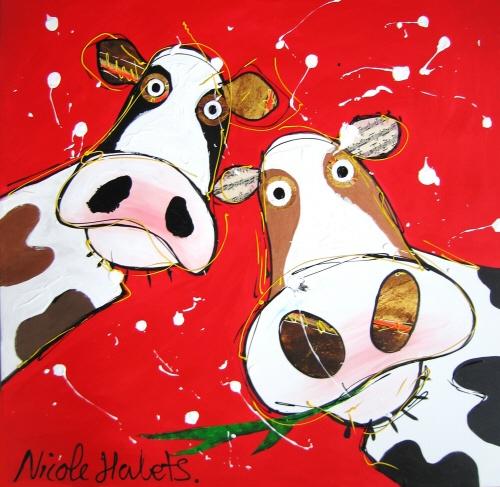 Vrolijke Gekke koeien schilderij door Nicole Habets